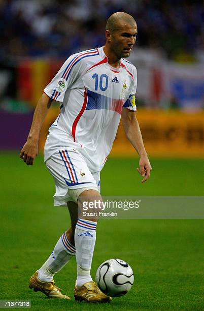 Zinedine Zidane of France in action during the FIFA World Cup Germany 2006 Quarterfinal match between Brazil and France at the Stadium Frankfurt on...