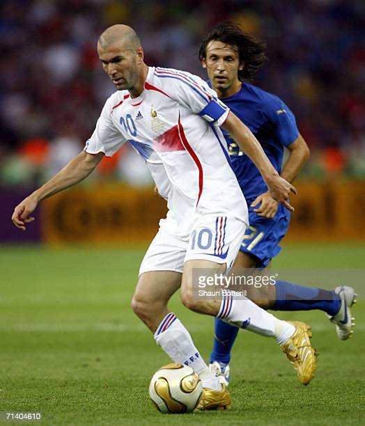 Zinedine Zidane of France is pursued by Andrea Pirlo of Italy during the FIFA World Cup Germany 2006 Final match between Italy and France at the...