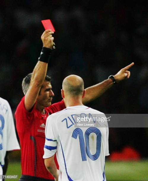 Zinedine Zidane of France is shown a red card by Referee Horacio Elizondo of Argentina during the FIFA World Cup Germany 2006 Final match between...