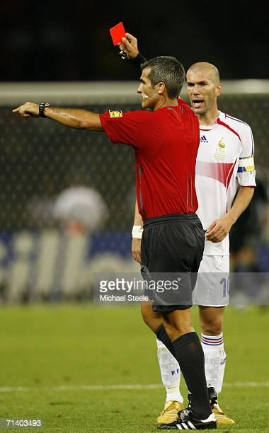 Zinedine Zidane of France is shown the red card by Referee Horacio Elizondo of Argentina during the FIFA World Cup Germany 2006 Final match between...