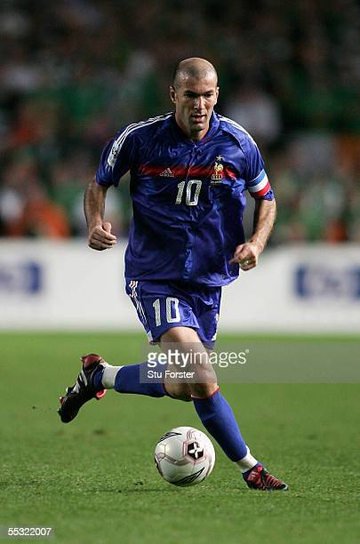Zinedine Zidane of France on the ball during the FIFA World Cup 2006 Qualifying Match between the Republic of Ireland and France at Lansdowne Road on...