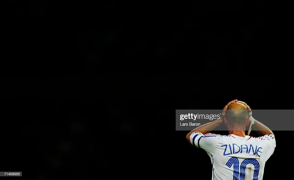 Zinedine Zidane of France reacts during the FIFA World Cup Germany 2006 Final match between Italy and France at the Olympic Stadium on July 9, 2006 in Berlin, Germany.