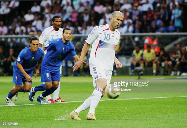Zinedine Zidane of France scores the opening goal from the penalty spot during the FIFA World Cup Germany 2006 Final match between Italy and France...