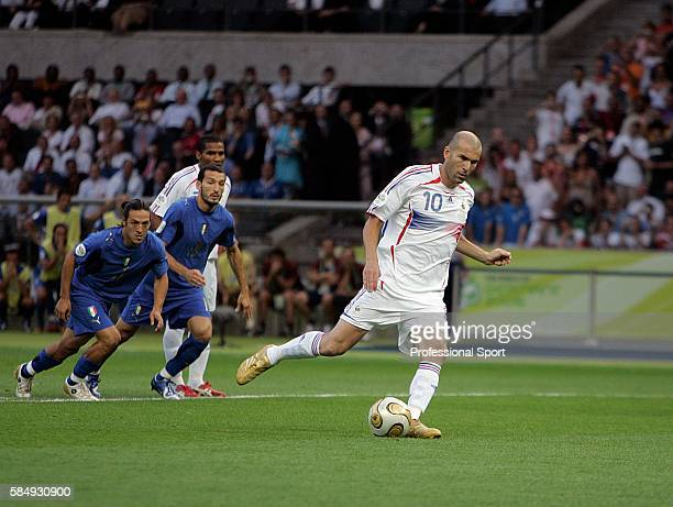 Zinedine Zidane of France scoring his penalty during the FIFA 2006 World Cup Final match between Italy and France at the Olympic Stadium on July 9...