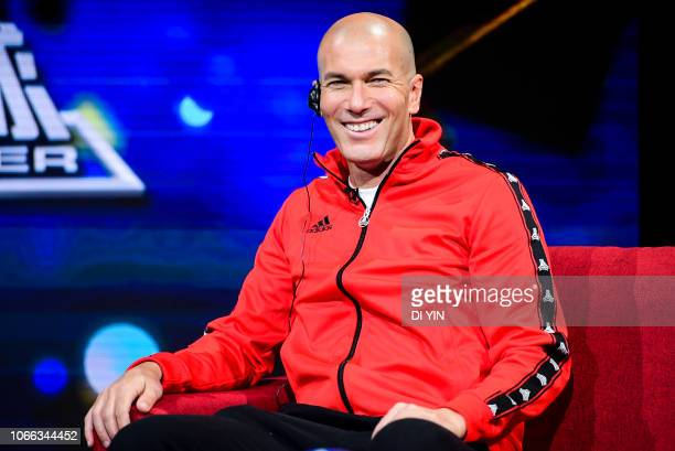 Zinedine Zidane of France smiles in CHANEL 5 of China Center Television in the recording of TV programs on November 29 2018 in Beijing China