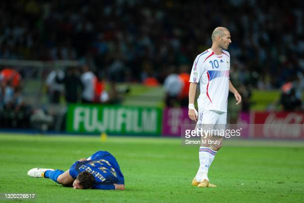 Zinedine Zidane of France walks away after headbutting Marco Materazzi of Italy during the World Cup Final match between France and Italy . Italy...