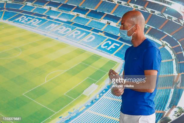 Zinedine Zidane of Real Madrid attends Valdebebas training ground as Real Madrid prepare to return to training after a suspension during the Covid-19...