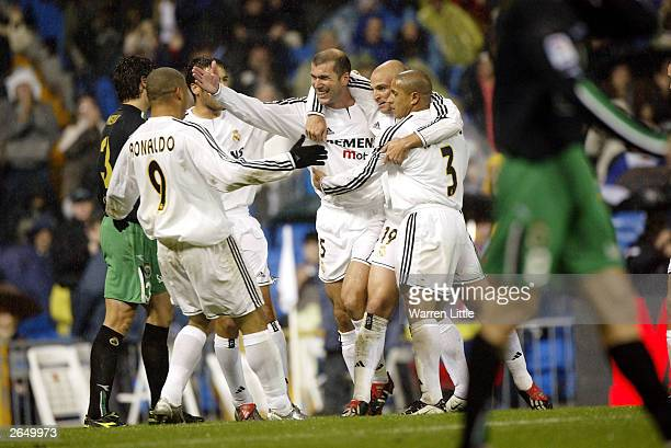 Zinedine Zidane of Real Madrid celebrates scoring the first Real goal during the Spanish Primera Liga match between Real Madrid and Racing Santander...