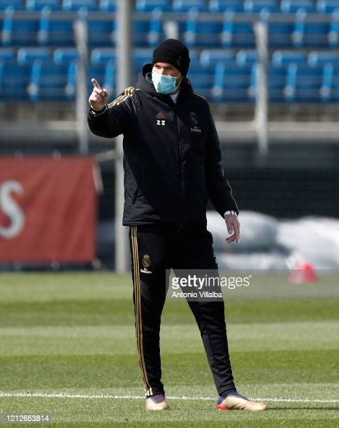 Zinedine Zidane of Real Madrid during a first training session since the Covid-19 pandemic at Valdebebas training ground on May 11, 2020 in Madrid,...