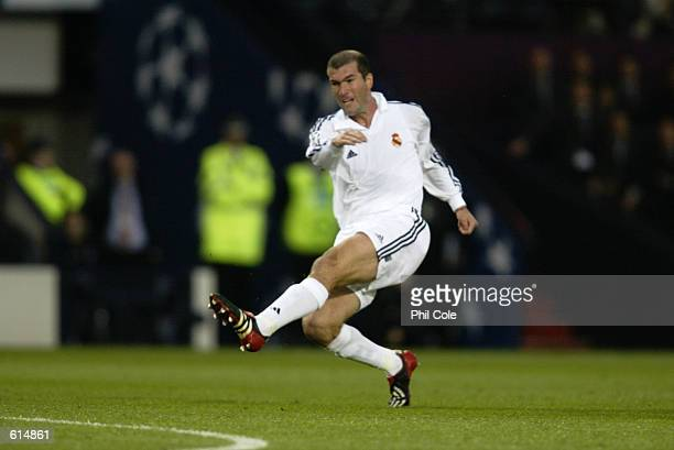 Zinedine Zidane of Real Madrid has a shot at goal during the UEFA Champions League Final between Real Madrid and Bayer Leverkusen played at Hampden...