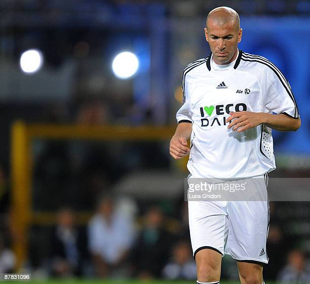 Zinedine Zidane reacts during the charity football game between National Singers and Team Ale 10 on May 18 2009 in Turin Italy
