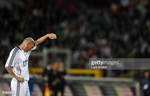 Zinedine Zidane reacts during the charity football game between National Singers and Team Ale 10 on May 18 2009 in Turin Italy on May 18 2009 in...