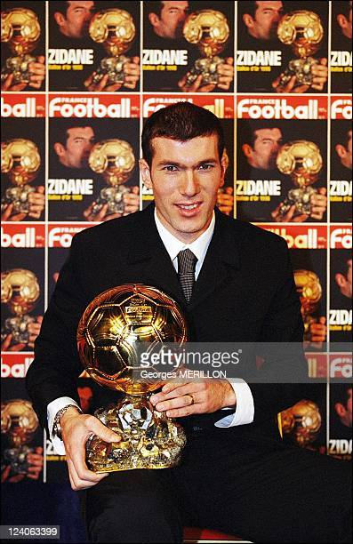 Zinedine Zidane receives the ballon d'or In Paris France On December 21 1998