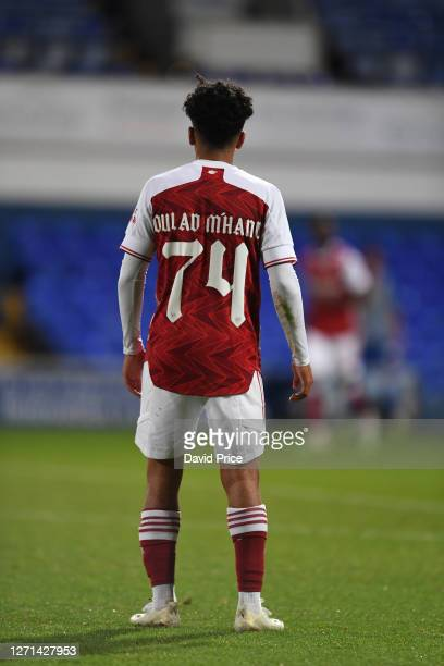 ZineEddine Olad M'Hand of Arsenal during the Leasingcom Cup match between Ipswich Town and Arsenal U21 at Portman Road on September 08 2020 in...