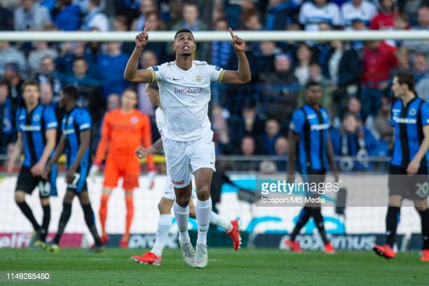 Zinho Gano of Genk scores a goal during the Jupiler Pro League playoff 1 match between Club Brugge and Krc Genk at Jan Breydel Stadium on May 12 2019...