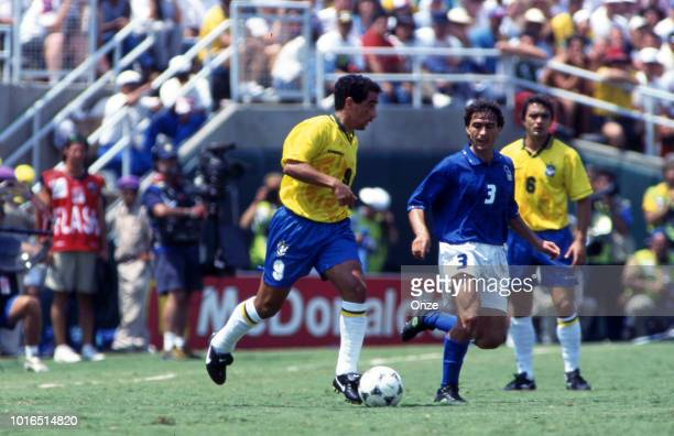 Zinho of Brazil and Antonio Benarrivo of Italy during the 1994 FIFA World Cup final match between Brazil and Italy at Rose Bowl on July 17 1994 in...