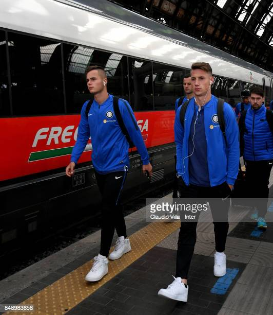 Zinho Vanheusden and Andrea Pinamonti of FC Internazionale travel to Bologna ahead of the Serie A match on September 18 2017 in Milan Italy