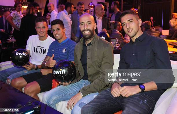 Zinho Vanheusden Joao Cancelo Borja Valero and Matias Vecino attend BWin event on September 13 2017 in Milan Italy