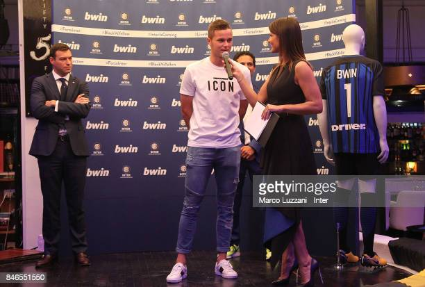 Zinho Vanheusden of FC Internazionale and Barbara Pedrotti attend BWin event on September 13 2017 in Milan Italy