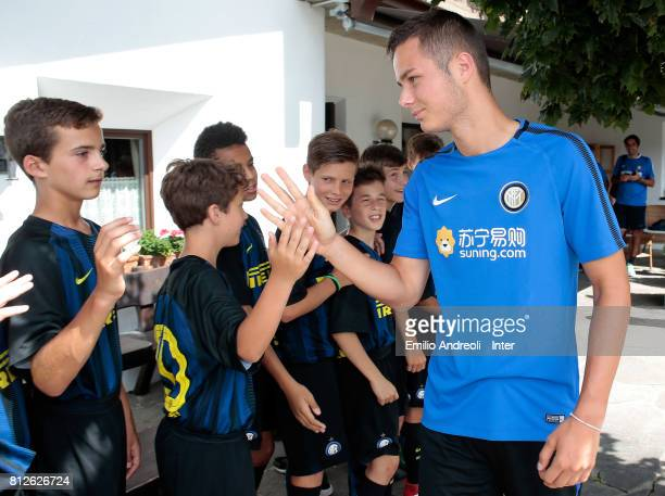 Zinho Vanheusden of FC Internazionale Milano during a meet and greet with the young players of Centri di Formazione Inter on July 11 2017 in...