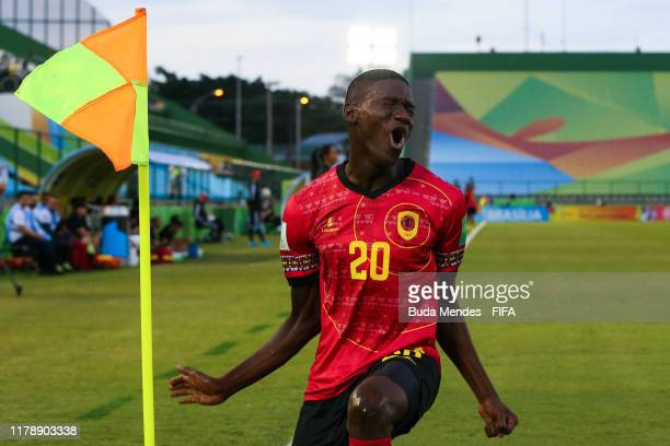 Zini of Angola celebrates a scored goal against Canada during the FIFA U17 Men's World Cup Brazil 2019 group A match between Angola and Canada at...
