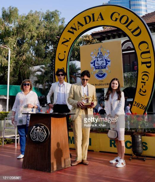 Zinia Lawyer, Jah Wadia, Ness Wadia and Ella Wadia at the CN Wadia Gold Cup 2020 Race Day at the Royal Western India Turf Club on March 08, 2020 in...