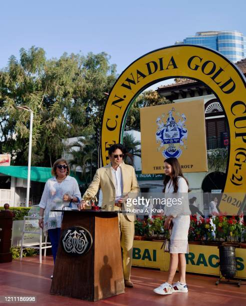 Zinia Lawyer, Marketing Head - Royal Western India Turf Club with industrialist Ness Wadia and his niece, Ella Wadia at the CN Wadia Gold Cup 2020...