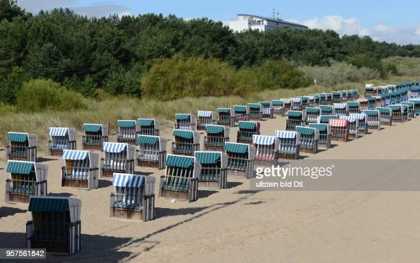 Zinnowitz, Usedom, Germany - coast, beach chair, August 18, 2016.