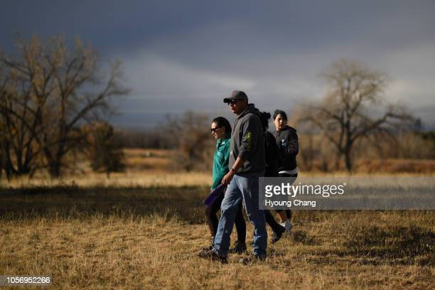 Zintakala Eiring of Oglala Lakota, left, and her boyfriend Andre Croweagle of Sicangu Lakota in Rocky Mountain Arsenal Wildlife Refuge for The Tribal...