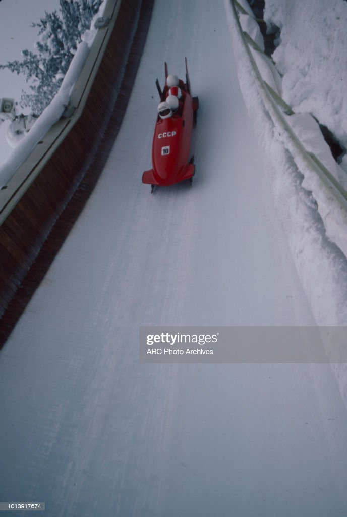 Zintis Ekmanis, Janis Skrastin, Rihards Kotans, Vladimir Aleksandrov competing in the Men's four-man bobsleigh event at the 1984 Winter Olympics / XIV Olympic Winter Games, Sarajevo Olympic Bobsleigh and Luge Track.