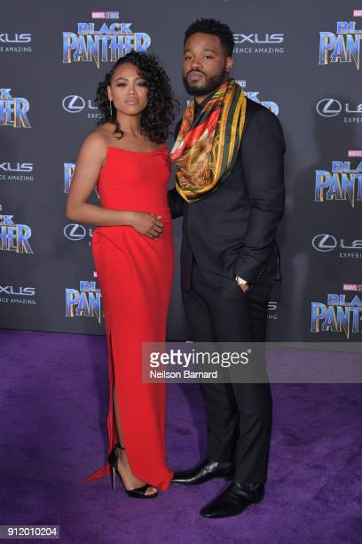 Zinzi Evans and Director Ryan Coogler attend the premiere of Disney and Marvel's 'Black Panther' at Dolby Theatre on January 29 2018 in Hollywood...