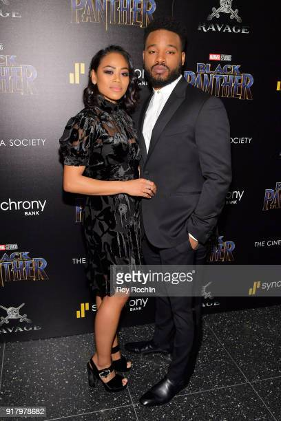 Zinzi Evans and director Ryan Coogler attend the screening of Marvel Studios' 'Black Panther' hosted by The Cinema Society on February 13 2018 in New...