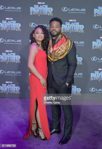 Zinzi Evans and Ryan Coogler arrive for the World Premiere of Marvel Studios' Black Panther presented by Lexus at Dolby Theatre in Hollywood on...