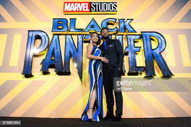 Zinzi Evans and Ryan Coogler attend the European Premiere of 'Black Panther' at Eventim Apollo on February 8 2018 in London England