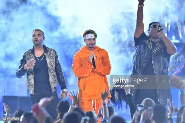 Zion J Balvin and Lennox perform onstage during Univision's 29th Edition of Premio Lo Nuestro A La Musica Latina at the American Airlines Arena on...