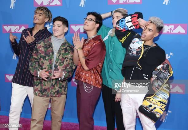 Zion Kuwonu Nick Mara Brandon Arreaga Austin Porter and Edwin Honoret of PRETTYMUCH attend the 2018 MTV Video Music Awards at Radio City Music Hall...