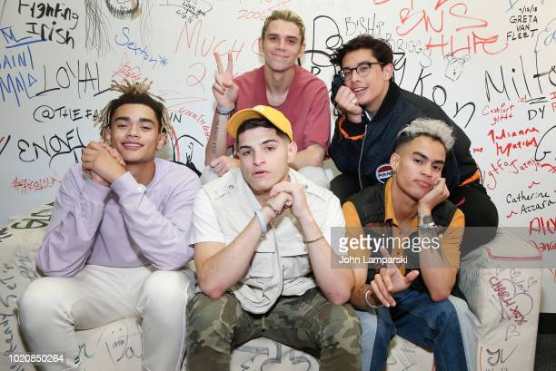 Zion Kuwonu Nick Mara Edwin Honoret Austin Porter and Brandon Arreaga of PRETTYMUCH visit Music Choice at Music Choice on August 21 2018 in New York...