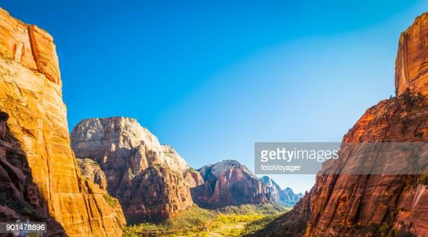 Zion National Park panoramic vista between canyon wall peaks Utah