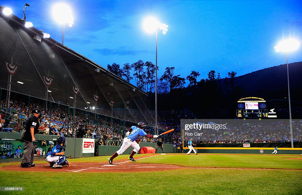 Zion Spearman #25 of Pennsylvania follows a first inning hit against Nevada during the United States division game at the Little League World Series tournament at Lamade Stadium on August 20, 2014 in South Williamsport, Pennsylvania.