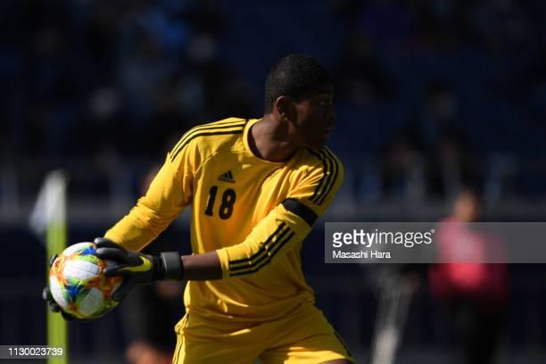 Zion Suzuki in action during the Next Generation Match before the Fuji Xerox Super Cup at Saitama Stadium on February 16, 2019 in Saitama, Japan.