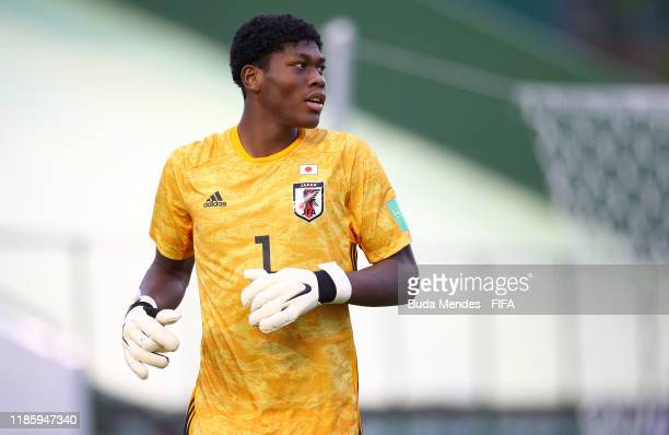 Zion Suzuki of Japan is seen during the FIFA U-17 World Cup Brazil 2019 round of 16 match between Japan and Mexico at Estadio Bezerrao on November...
