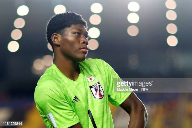 Zion Suzuki of Japan looks on before the FIFA U-17 World Cup Brazil 2019 group D match between United States and Japan at Estádio Kléber Andrade on...