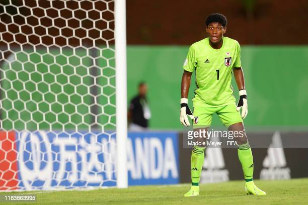 Zion Suzuki of Japan looks on from the goal during the Group D Match between Japan and Netherlands in the FIF U-17 World Cup Brazil 2019 on October...