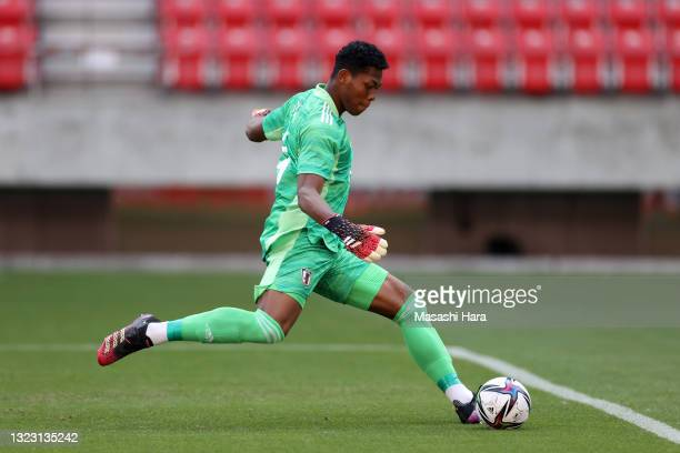 Zion Suzuki of Japan U-24 in action during the international friendly match between Japan U-24 and Jamaica at the Toyota Stadium on June 12, 2021 in...