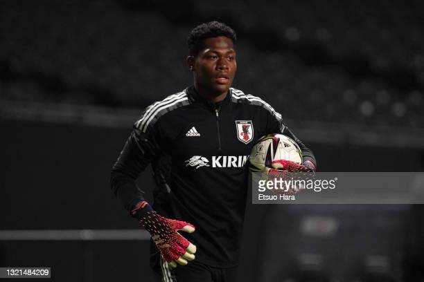Zion Suzuki of Japan U-24 is seen after the friendly match between Japan and Japan U-24 at the Sapporo Dome on June 3, 2021 in Sapporo, Hokkaido,...