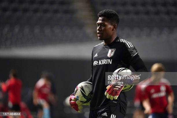 Zion Suzuki of Japan U-24 is seen prior to the friendly match between Japan and Japan U-24 at the Sapporo Dome on June 3, 2021 in Sapporo, Hokkaido,...