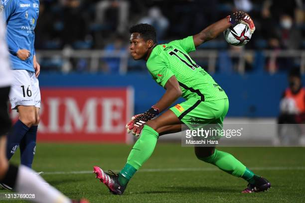 Zion Suzuki of Urawa Reds in action during the J.League YBC Levain Cup Group C match between Yokohama FC and Urawa Red Diamonds at the NHK Spring...