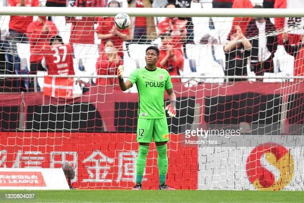 Zion Suzuki of Urawa Reds looks on during the J.League Meiji Yasuda J1 match between Urawa Red Diamonds and Nagoya Grampus at the Saitama Stadium on...