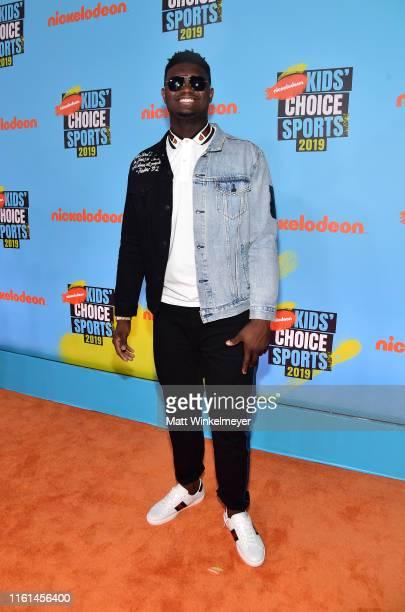 Zion Williamson attends Nickelodeon Kids' Choice Sports 2019 at Barker Hangar on July 11, 2019 in Santa Monica, California.