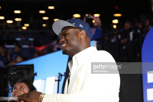 Zion Williamson drafted by the New Orleans Pelicans poses for a photo during the 2019 NBA Draft on June 20, 2019 at the Barclays Center in Brooklyn,...